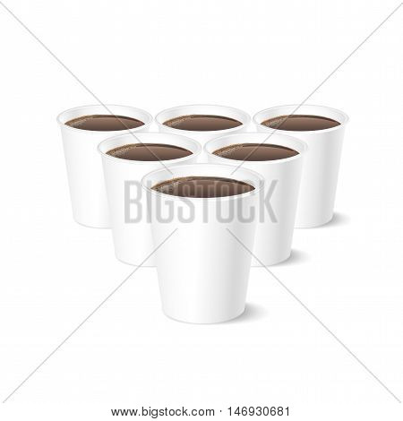 Disposable coffee cup isolated on white background, vector illustration