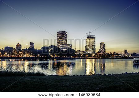 Milwaukee Skyline at Sunset in the Summer.