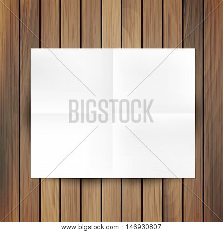 White folded paper mockup card isolated on wood background, vector illustration