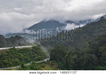 mountain in the mist, cold weather and fresh air