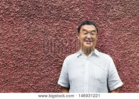 Japanese Man Smiling Lifestyle Portrait Concept