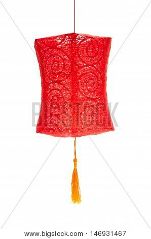 red lantern hanging on a white background