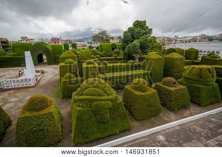 TULCAN, ECUADOR - JULY 3, 2016: nice view of the topiary garden located at the cemetery.