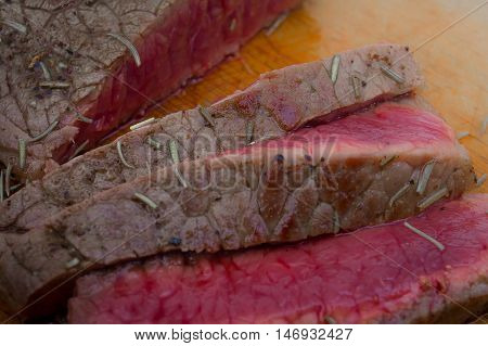 The Top  beef steak  slice cooking rare