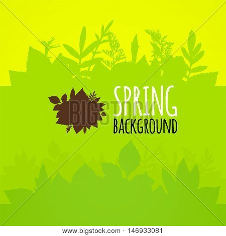Flat spring background, bright green leaves vector pattern