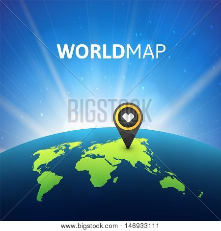 World map vector illustration, infographic design template, planet earth in space with sun