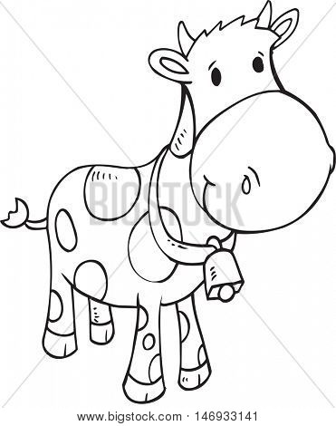Doodle Cow Vector Illustration Art