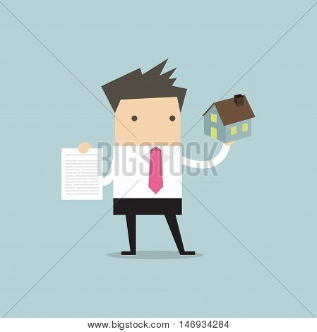 Businessman real estate agent holding house and contract