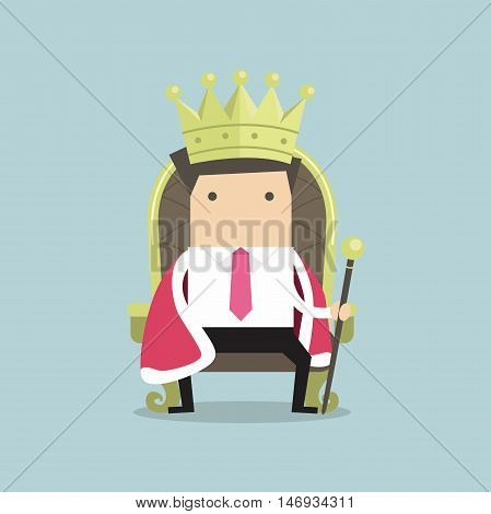 Businessman sitting on the throne with the crown like a king