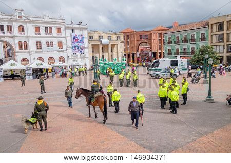 PASTO, COLOMBIA - JULY 3, 2016: some policeman standing on the central square of the city.