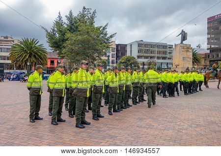PASTO, COLOMBIA - JULY 3, 2016: unidentied policeman standing on the center square of the city.