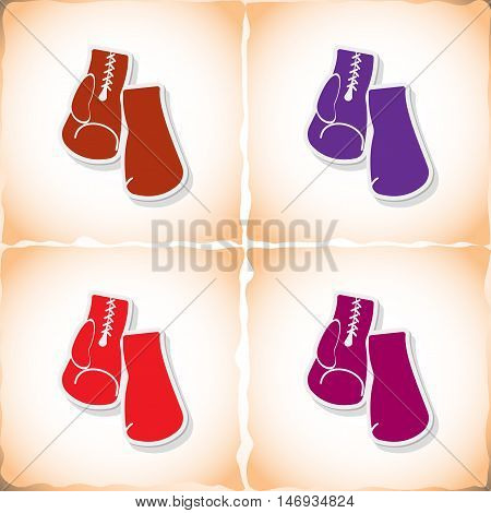 Boxing gloves. Flat sticker with shadow on old paper. Vector illustration