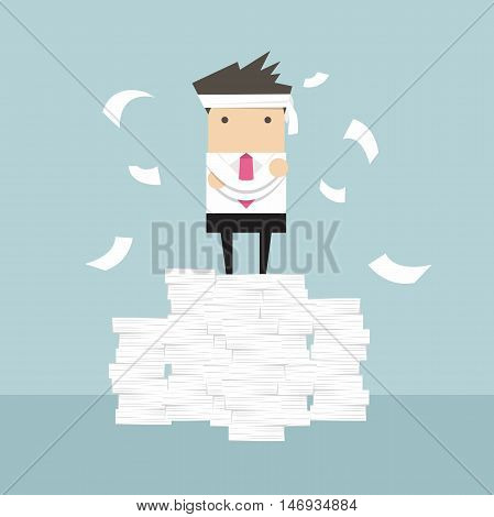 Business man standing on paperwork vector illustration