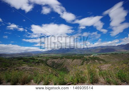 PASTO, COLOMBIA - JULY 3, 2016: beautiful landscape of some mountains close to the city of pasto.