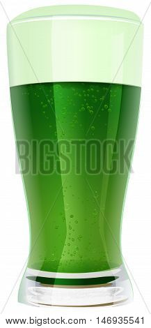 Green beer in glass. Isolated on white vector illustration