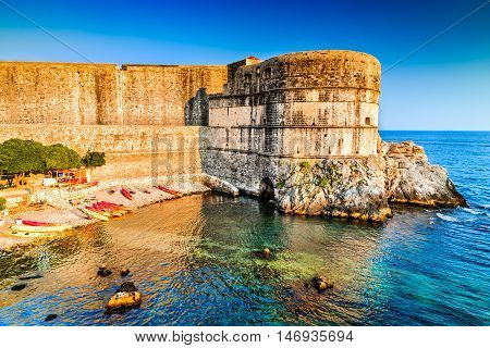 Dubrovnik Croatia. Spectacular picturesque view on the old town of Ragusa and Adriatic Sea coastline.