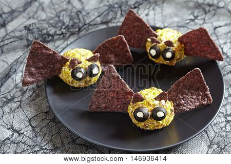 Cute bat cheese ball for Halloween party