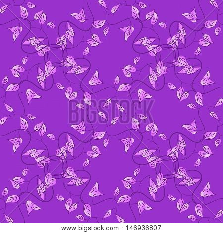 Violet lilac seamless pattern with light leaves details. Vector.