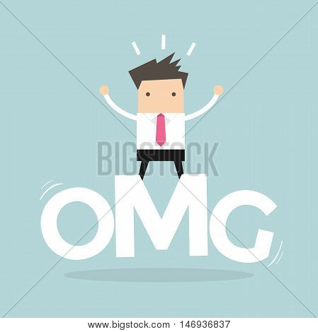 Businessman surprise stand on oh my god word. vector