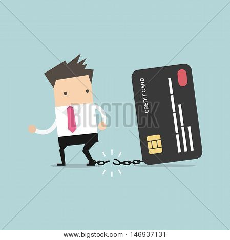 Businessman breaks free from the chain to bank credit card. Vector