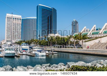 San Diego Embarcadero Skyline with the convention center.