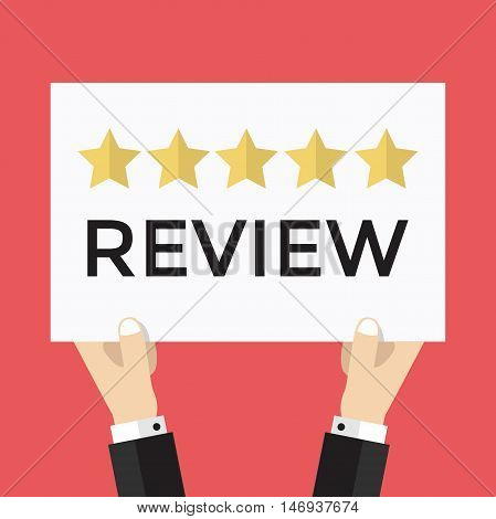 Businessman holding five star review sign, vector