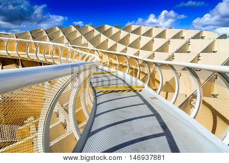 SEVILLA SPAIN - 9 MAY 2016: Metropol Parasol in Plaza de la Encarnacion. J. Mayer H. architects it is made from bonded timber with a polyurethane coating.