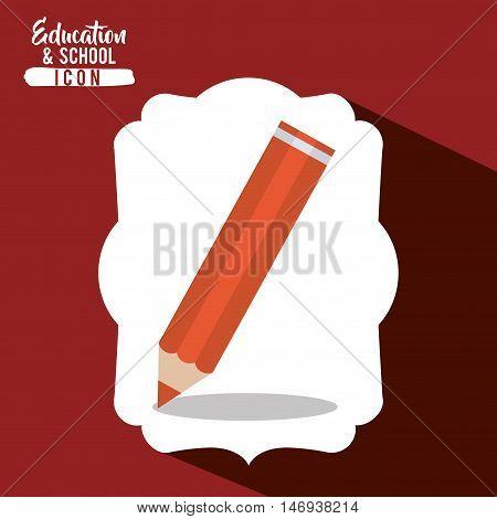Orange pencil tool icon. Draw write school and instrument theme. Frame design. Vector illustration
