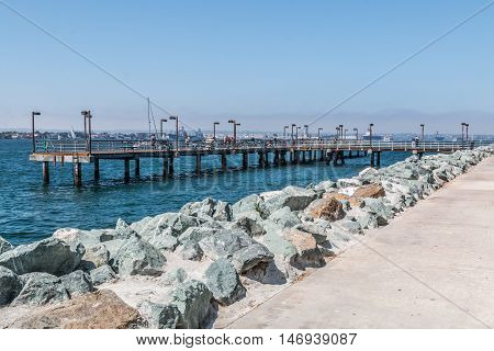 Fishing pier at Embarcadero Park South in San Diego, California.