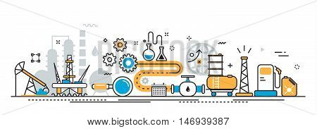 Flat line vector design illustration concept of oil and gas production industry process petroleum product oil extraction valving oil well pump for website banner header and landing page linear