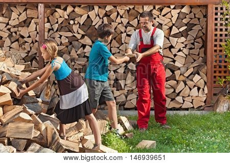 Kids helping their father to stack the chopped firewood - handing him the wood pieces