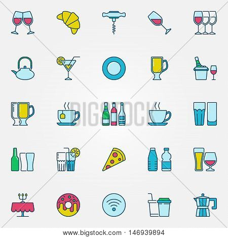 Colorful bar and cafe icons. Vector symbols of glass and bottle. Cafe food and drinks signs