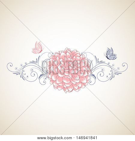 Hand-drawing floral background with flower dahlia with butterflies. Element for design. Vector illustration.