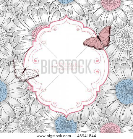 Beautiful abstract seamless hand drawn floral pattern with gerbera flowers. Vintage frame  with butterflies on a floral background  Vector illustration. Element for design.