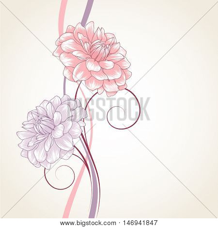 Beautiful abstract  hand drawn floral pattern with dahlias flowers. Vector illustration. Element for design.