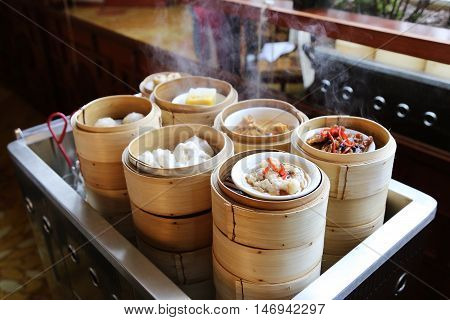 Chinese Dim Sum on a Steaming Trolley