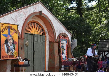 TUXEDO PARK, NY - SEP 11: The 2016 Renaissance Faire in Tuxedo Park, New York State, as seen on Sep 11, 2016. The New York Renaissance Faire was originally created in 1978.