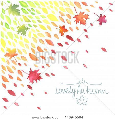 Autumn. A rain of colored leaves. Watercolor imitation in vector. Each object is separately, easy to edit.