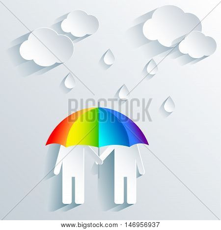 Gay couple hid under the umbrella of the rainbow-colored symbol of the LGBT community from the rain symbolizes the attacks from the outside world.