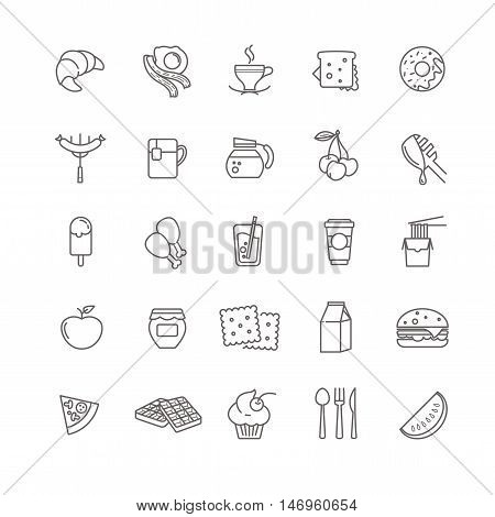 breakfast icons, stock vector set foy your design