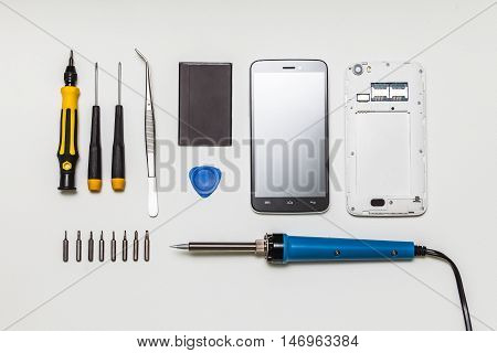 Mobile Phone Parts And Repairing Tools, Flat Lay, Top View