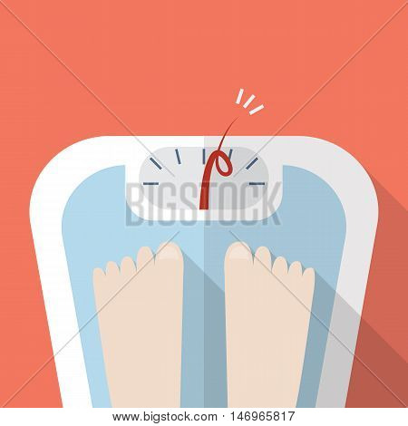 Overweight bare feet on weight scale. Vector illustration
