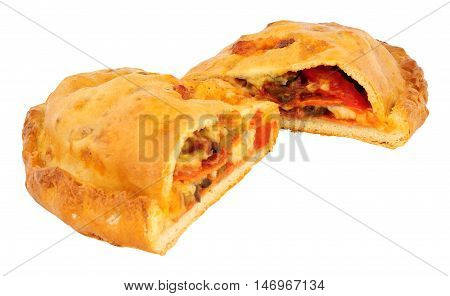 Pepperoni and cheese filled calzone pizza isolated on a white background