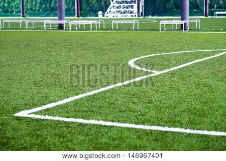 Soccer field close up used as background