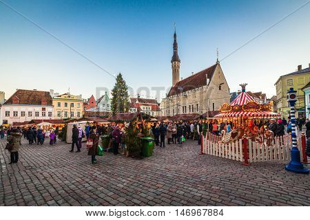 Estonia Tallinn - 19 DECEMBER: 2016: Christmas market at Tallinn city hall square