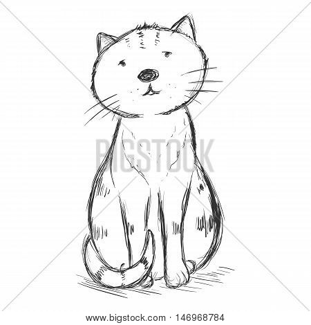 Vector Sketch Character - Funny Sitting Cat