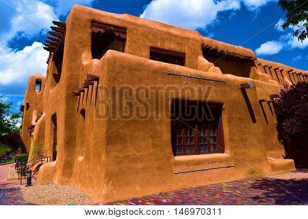 Southwestern style adobe building taken in Santa Fe, New Mexico