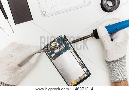 Mobile Phone Repairing Process, Flat Lay, Top View