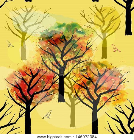 A seamless vector pattern with abstract autumn trees and birds, freehand drawings on a yellow background. Fall landscape repeat print