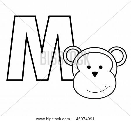 M for Monkey Black and White Coloring Page